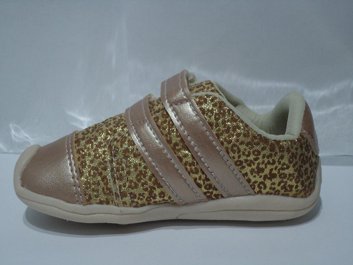 ec54a5db8ab tênis infantil feminino dourado lacinho oncinha velcro - 361. Carregando  zoom.