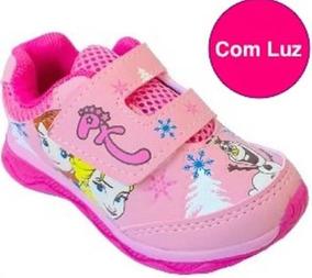 e8a2feeea7 Tênis Infantil Frozen Ana Elsa Rosa Luz Play Kids   Zito