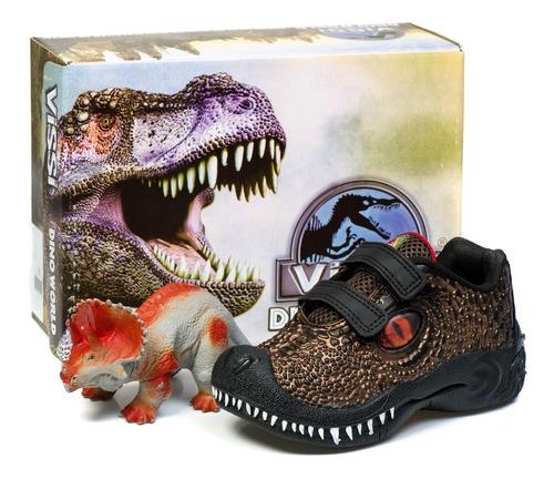 tênis infantil masculino dinossauro promoção + brinde as103