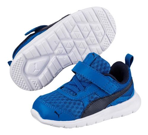 tênis infantil puma flex essential v - azul e marinho