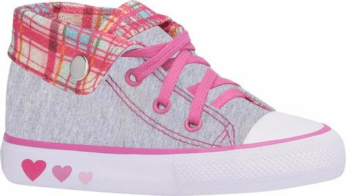 tênis infantil starzinho menina cinza e rosa lançamento top
