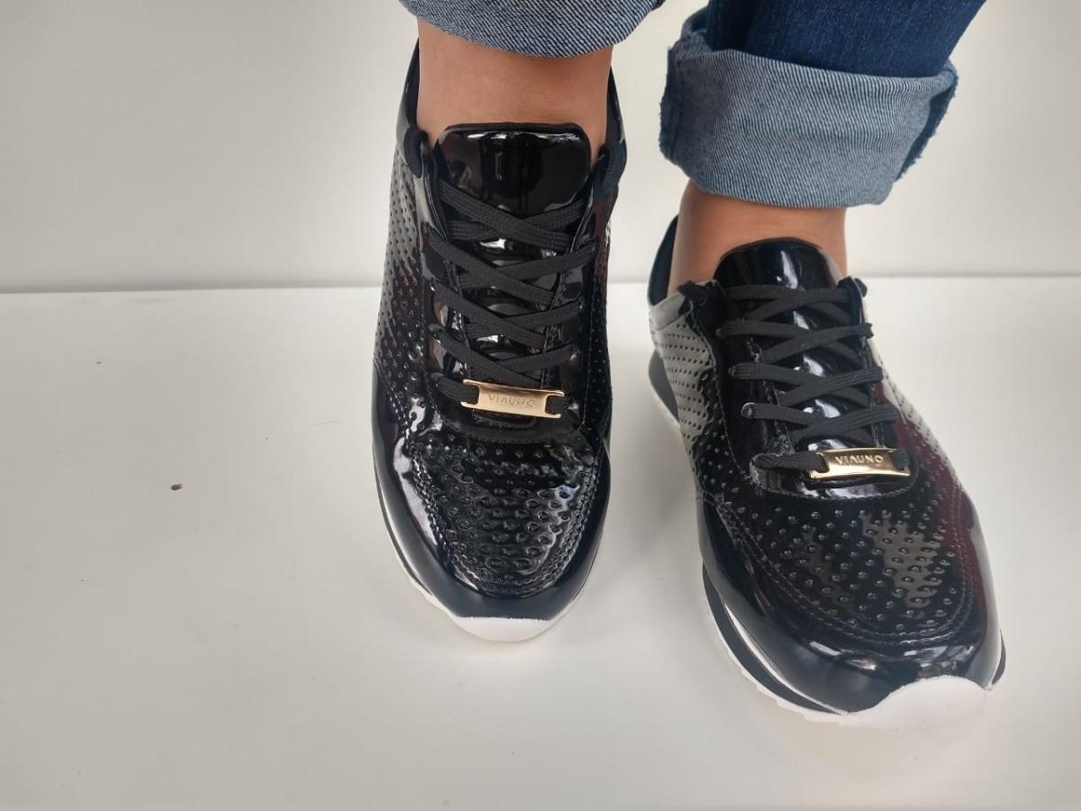 tênis jogging em verniz via uno com laser cut feminino. Carregando zoom. ecfde92a98f12