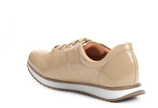 Tênis Jogging Via Uno Verniz Laser Cut Feminino Nude E Preto - R ... 921e0777bfead