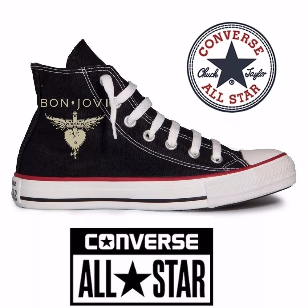 3e98a15783539 Tênis Jon Bon Jovi All Star Converse Customizado