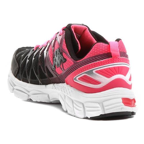 tênis kappa impact feminino - preto e rosa