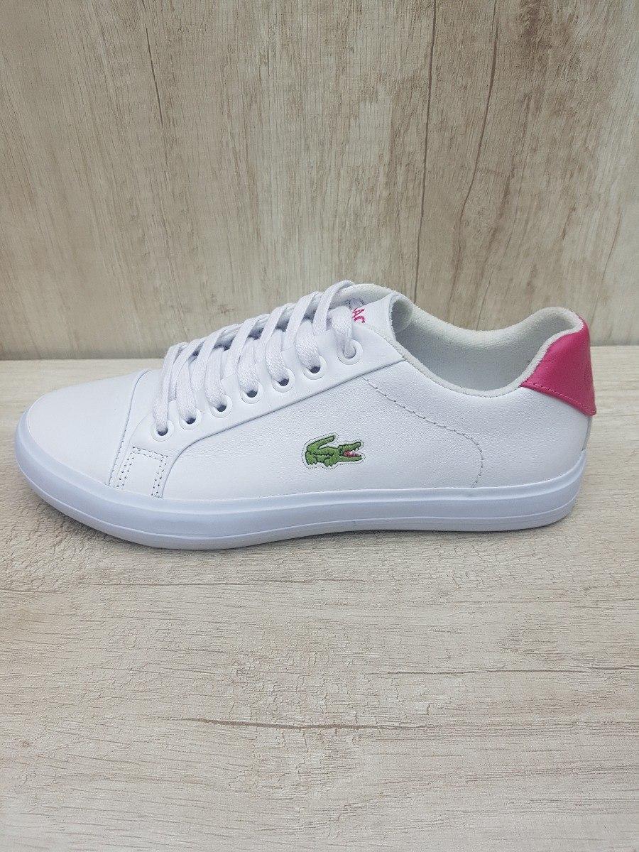 48ba7ecd896 Tênis Lacoste Branco Com Rosa - Couro - Lançamento - Lindo! - R  179 ...