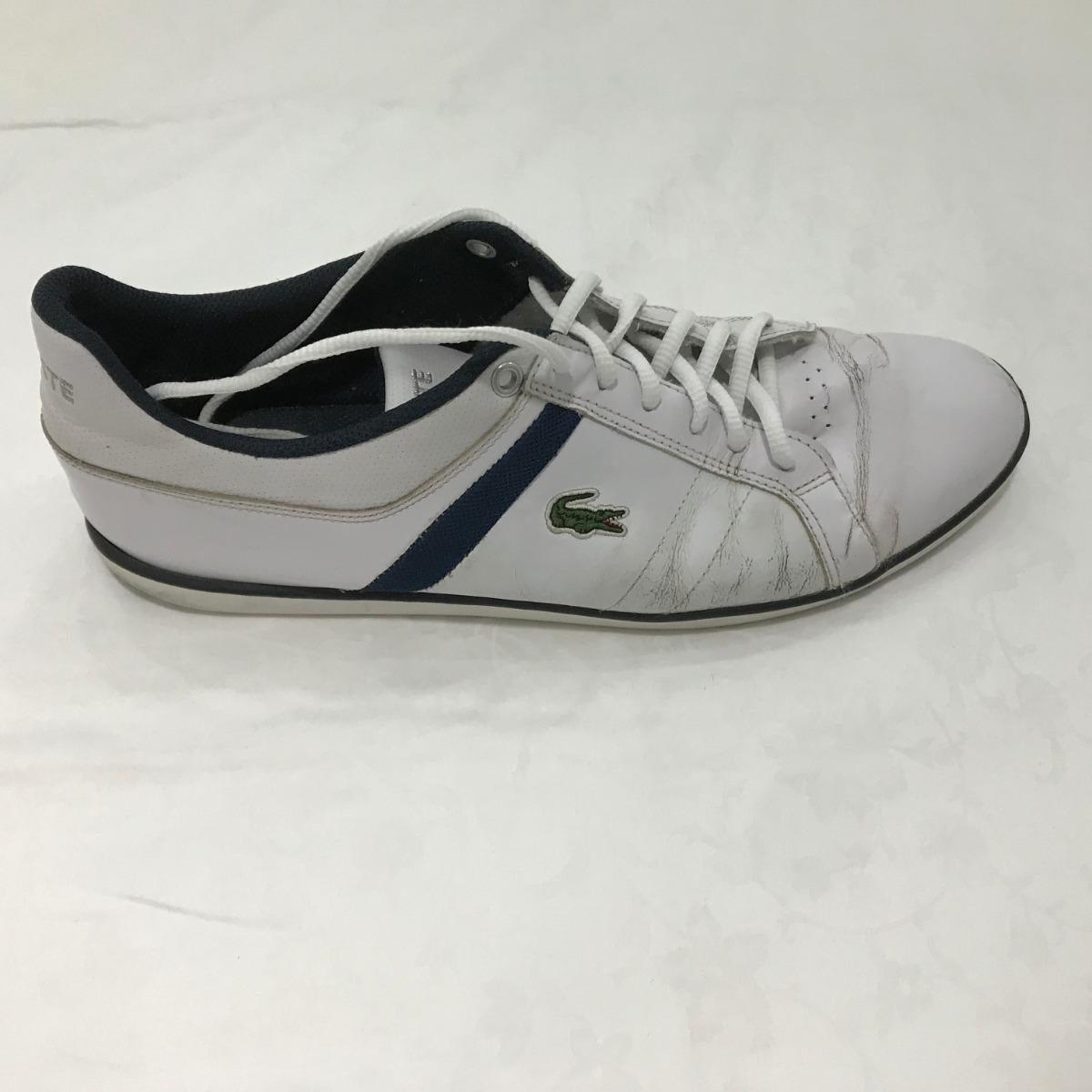 42718c19df8 tênis lacoste evershot couro branco azul escuro tamanho 44. Carregando zoom.