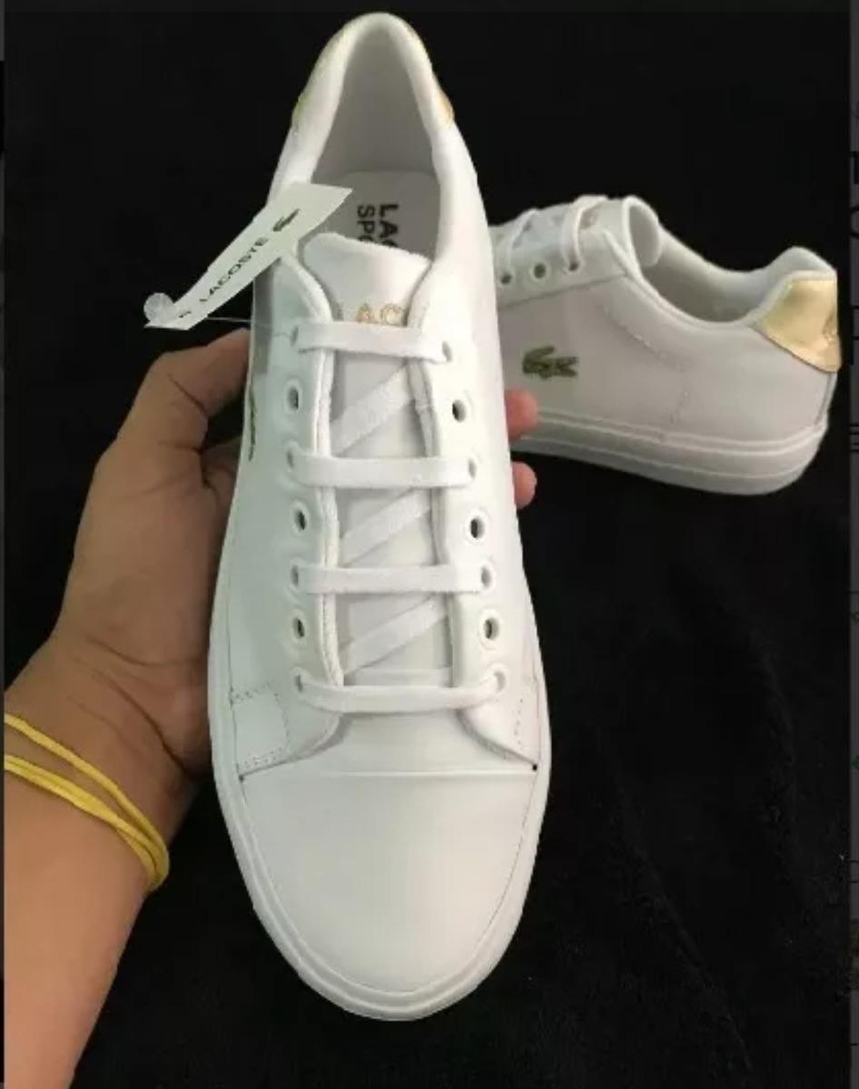 afa5ebf1c45d0 tênis lacoste feminino branco com dourado. Carregando zoom.