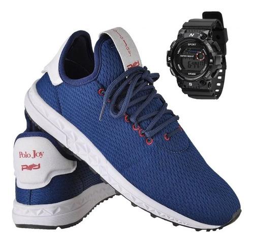tênis masculino polo joy sport caminhada c/ relógio g shock