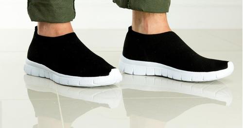 tênis meia unissex em malha knit preto italeoni