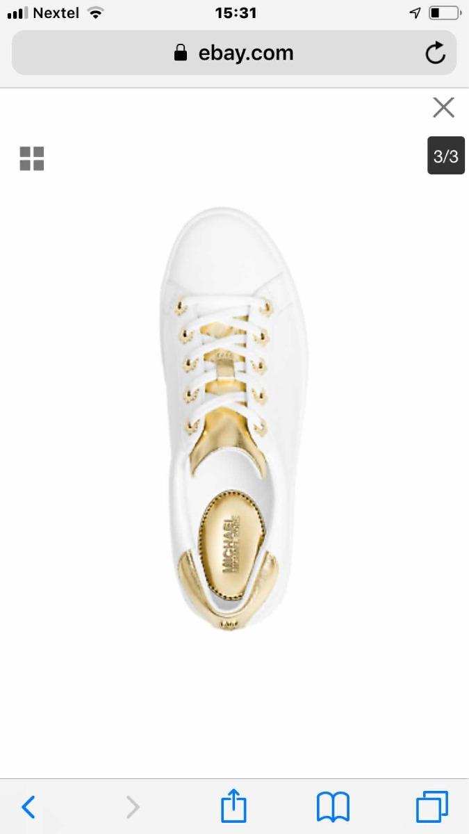 740d2f390c9a3 tênis michael kors irving branco e dourado original 36. Carregando zoom.