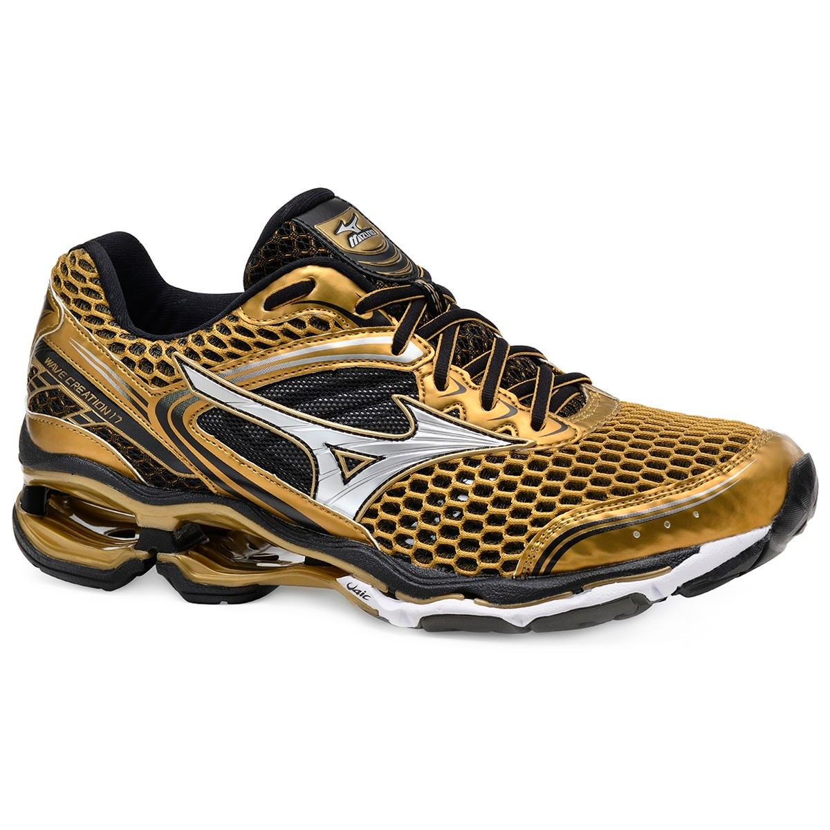 Tênis Mizuno Wave Creation 17 Golden Run Feminino Masculino - R  478 ... 68bfaa85bcd3d