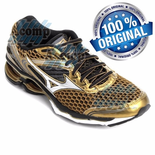 4804a33763d Tênis Mizuno Wave Creation 17 Golden Run Academia - R  484