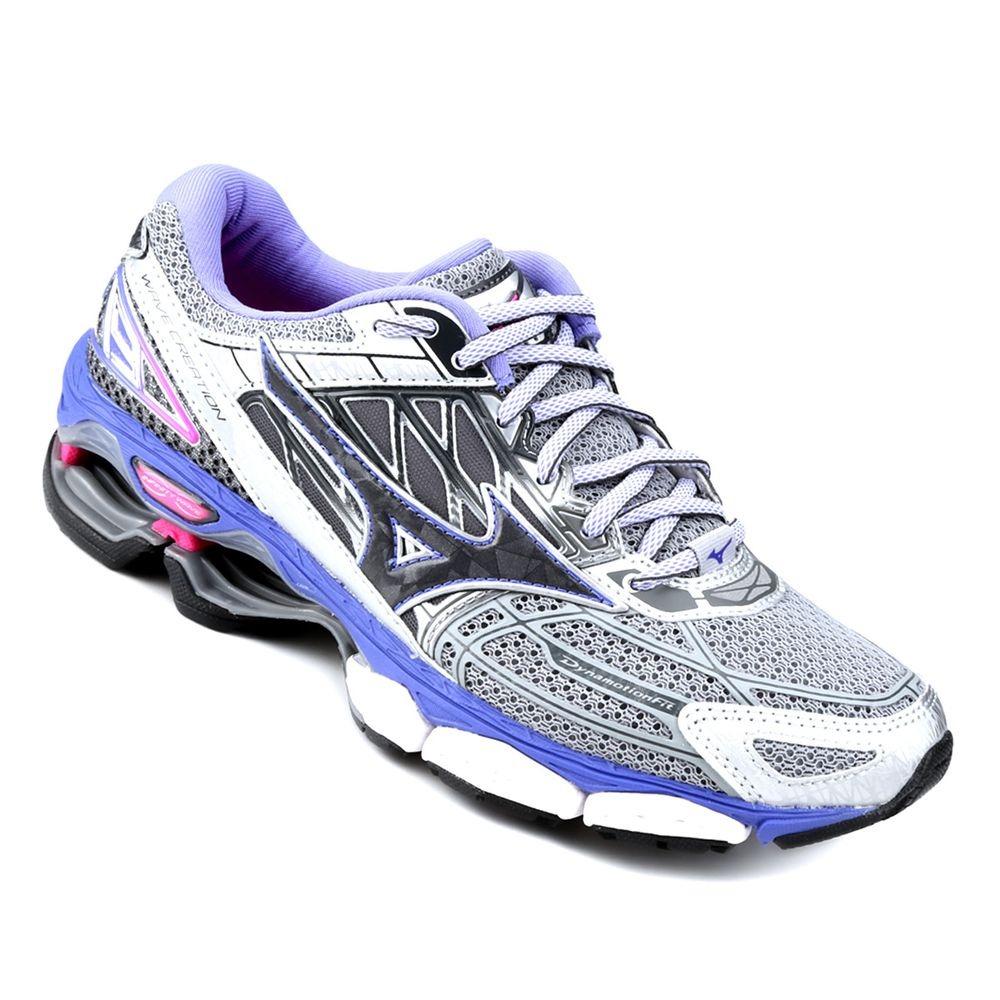 tênis mizuno wave creation 19 - feminino - prata roxo. Carregando zoom. 909e415f71b37