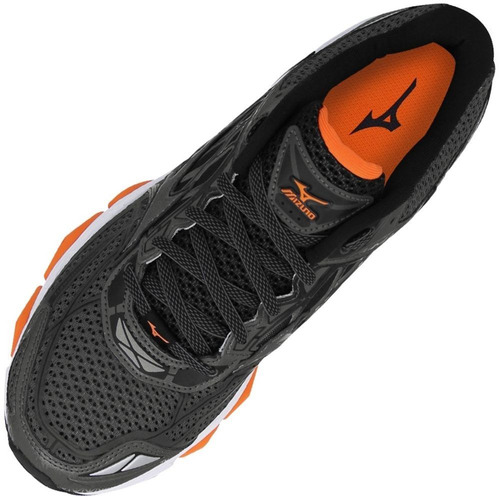 tênis mizuno wave creation 19 - masculino - grafite/laranja