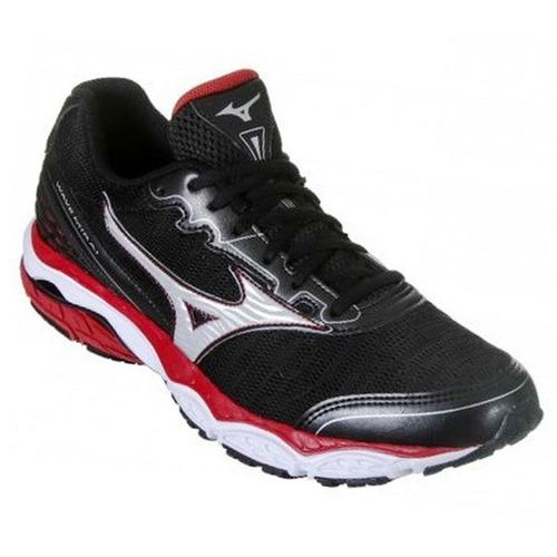 tênis mizuno wave mirai masculino preto vermelho - original