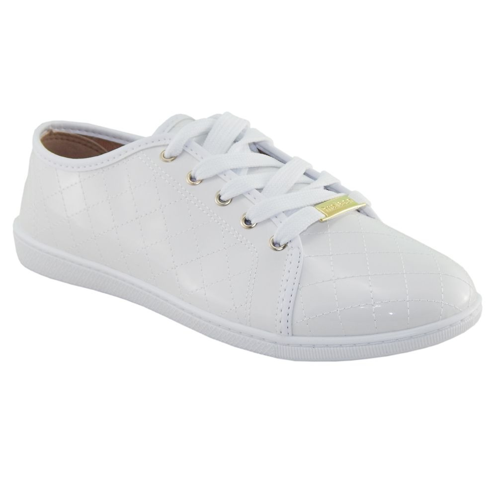 00d51564fb tênis moleca sapatenis casual feminino verniz branco 5605107. Carregando  zoom.