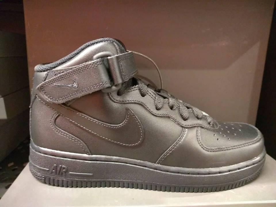Tênis Nike Air Force 1 Mid Feminino Preto Couro Original