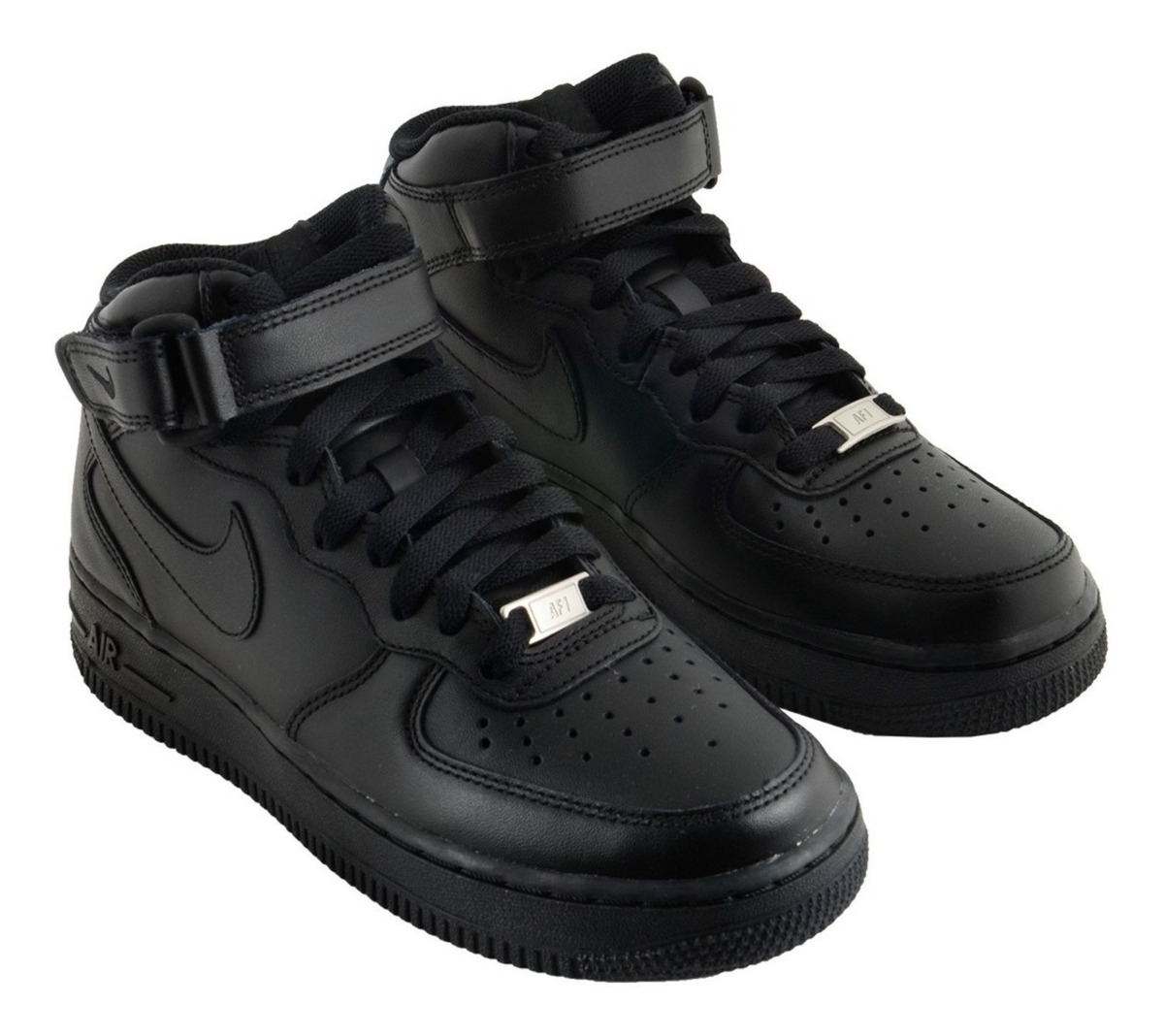 Tênis Nike Air Force 1 Mid Preto Feminino Couro Original!