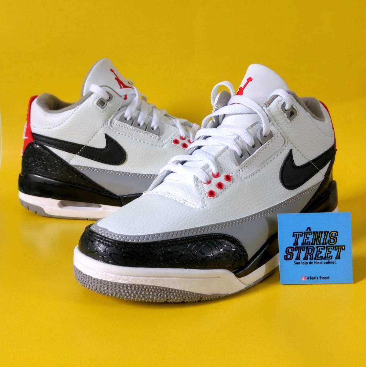 4847e27ba86 Tênis Nike Air Jordan 3 - Tinker Hatfield - Branco   Preto - R  480 ...