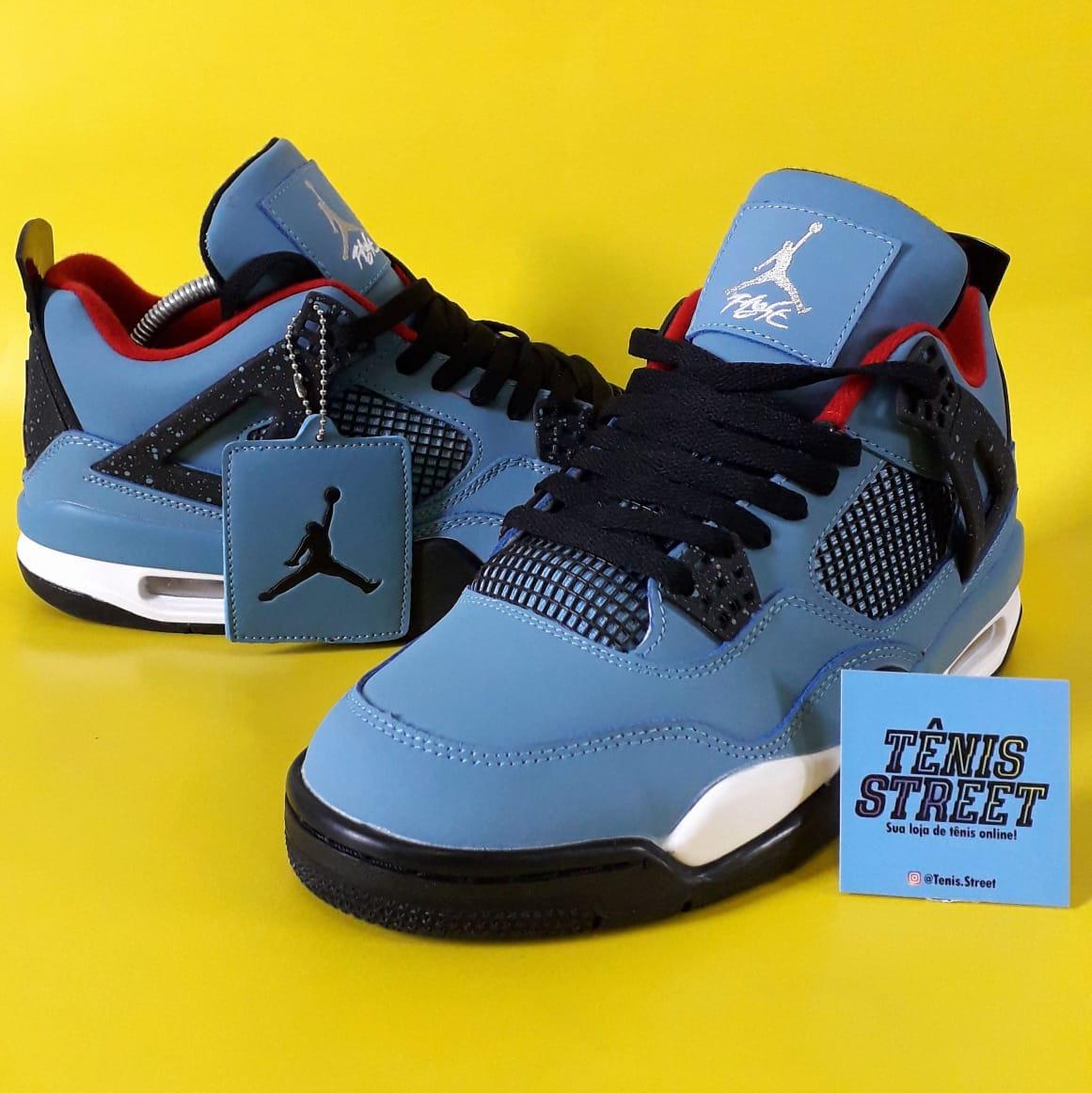 half off 18132 c4934 Tênis Nike Air Jordan 4 X Travis Scott ( Jack Cactus ) Azul - R  760,00 em  Mercado Livre