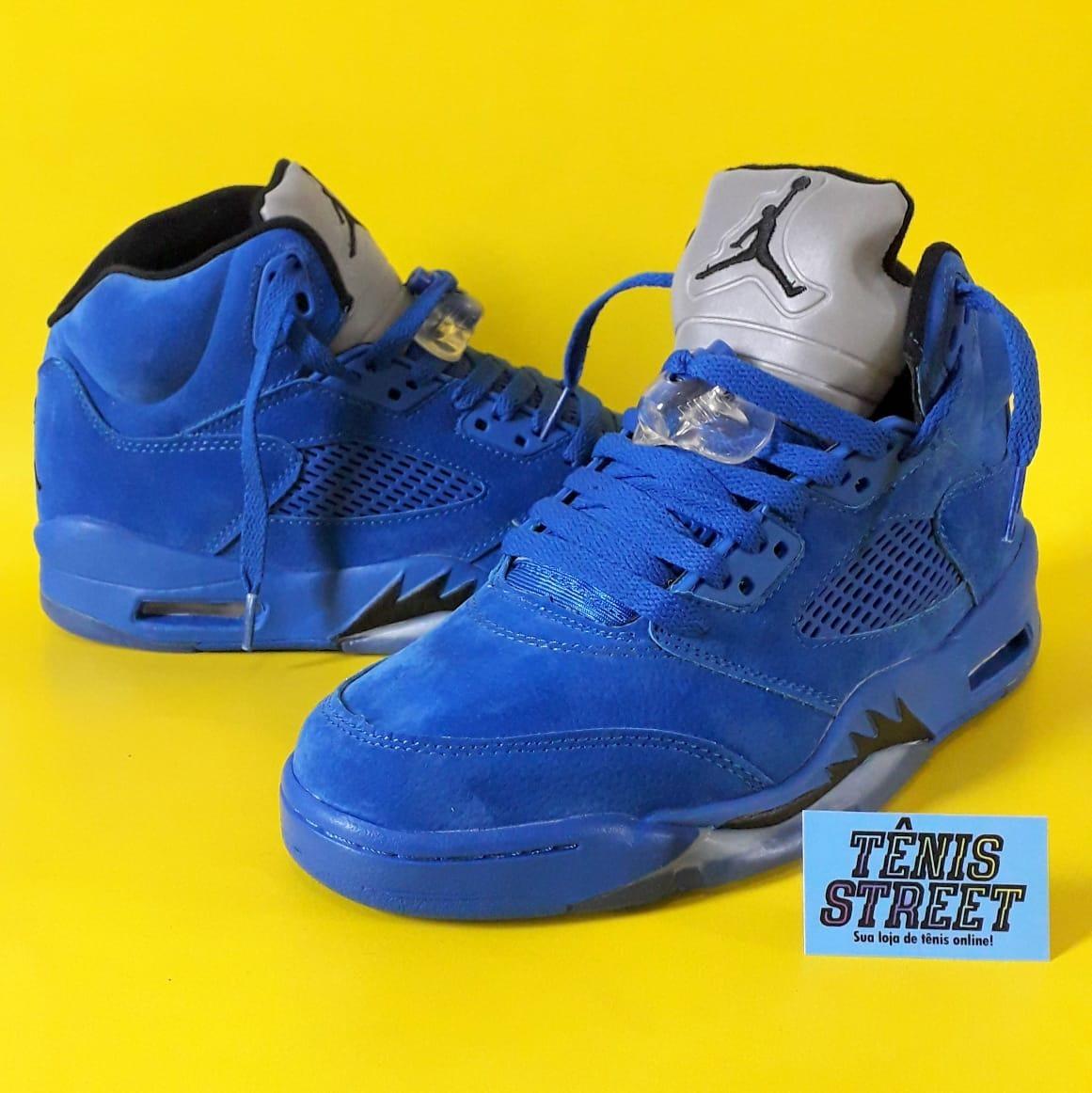 another chance 98424 7e197 Tênis Nike Air Jordan 5 Blue Suede - Azul / Refletivo
