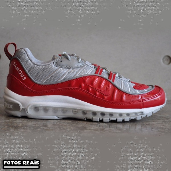 save off b6415 13c2a ... top quality tênis nike air max 98 by supreme original vermelho cinza  883c5 5495c