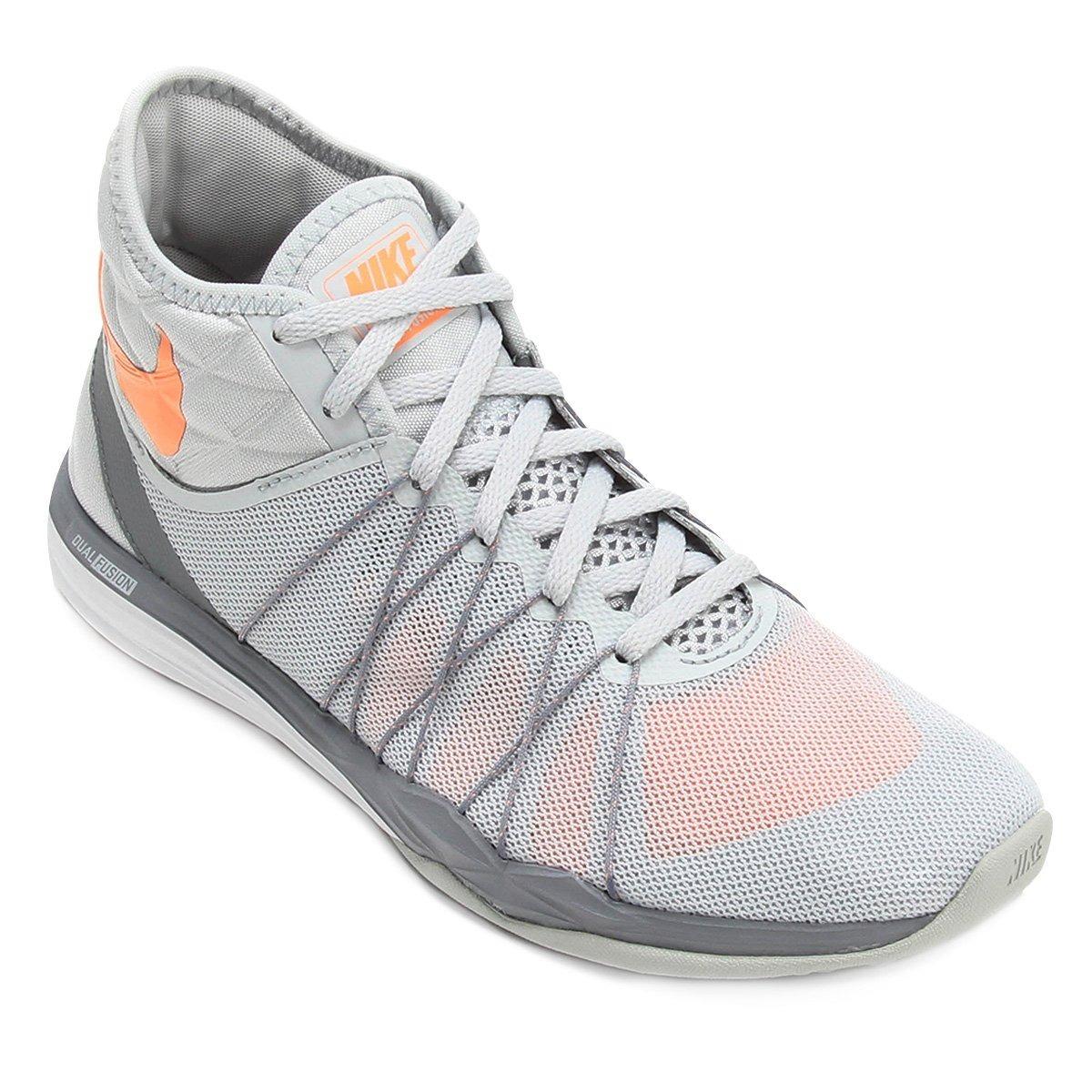 f4be77c0056 tênis nike dual fusion tr hit feminino - cinza e laranja. Carregando zoom.
