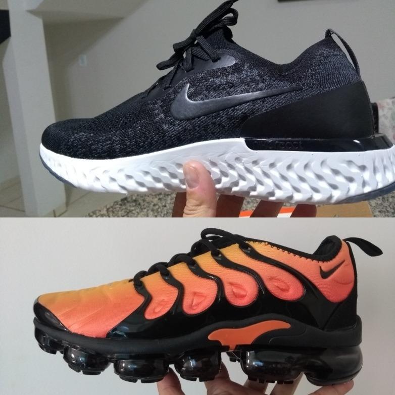 best website b8a0b 9ae17 Tênis Nike Epic React Flyknit Preto E Vapormax Plus Laranja