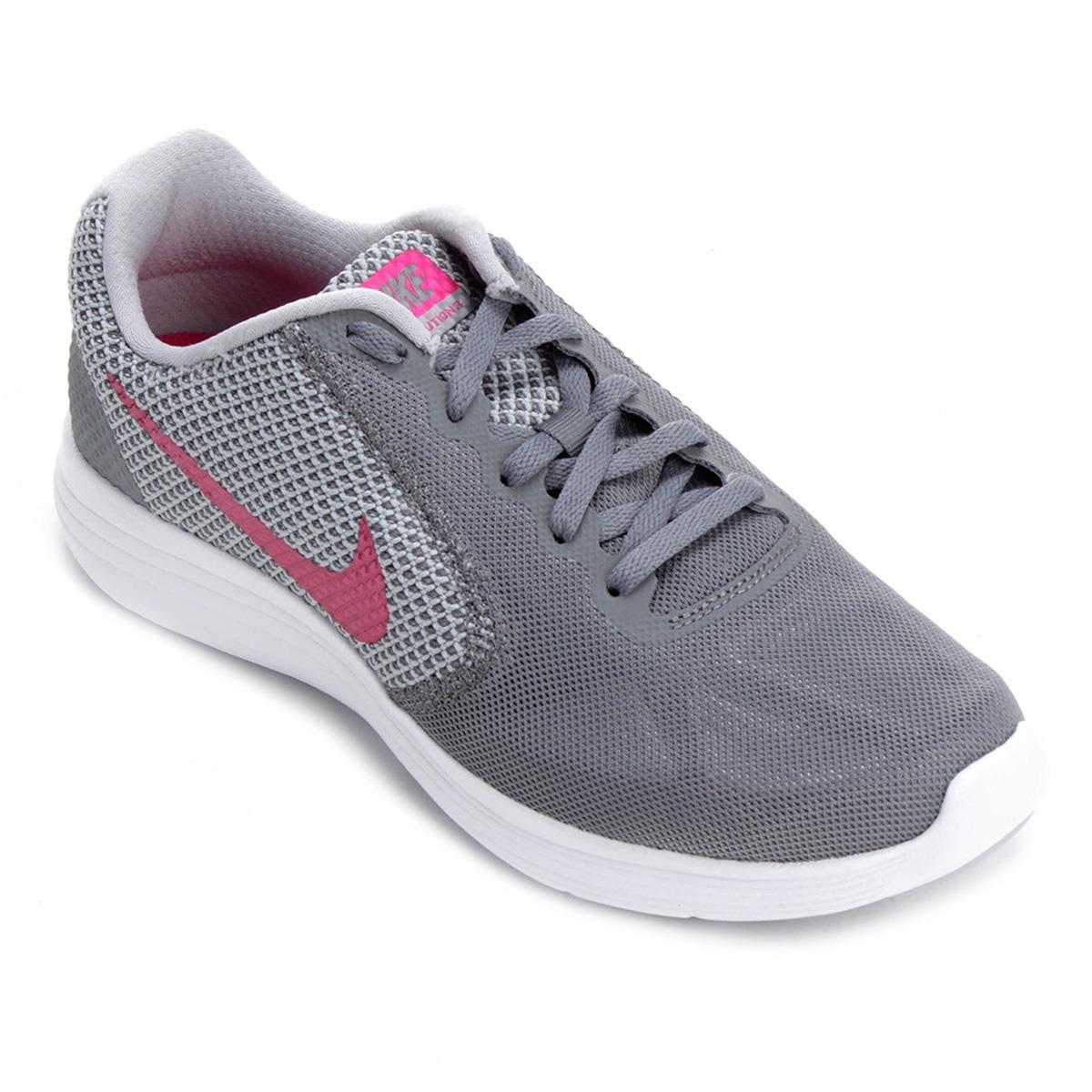 tênis nike revolution 3 feminino - rosa e cinza - original. Carregando zoom. e197941b87e3d