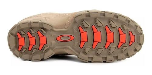 tênis oakley flak low bege couro bota resistente mega oferta