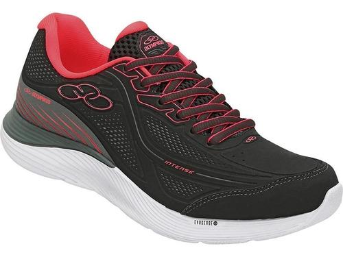 tênis olympikus intense feminino   preto/pink conforto leve