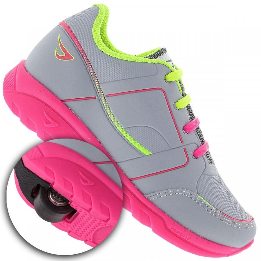 314d79d16 tênis ortopé estica e puxa rodinha infantil cinza e rosa. Carregando zoom.