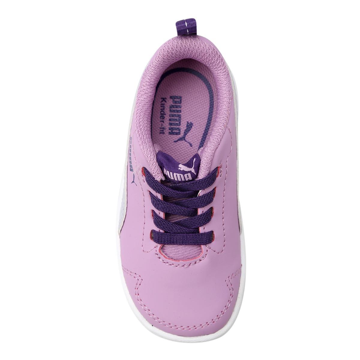 a2596c5b717 tênis puma courtflex roxo branco feminino infantil. Carregando zoom.
