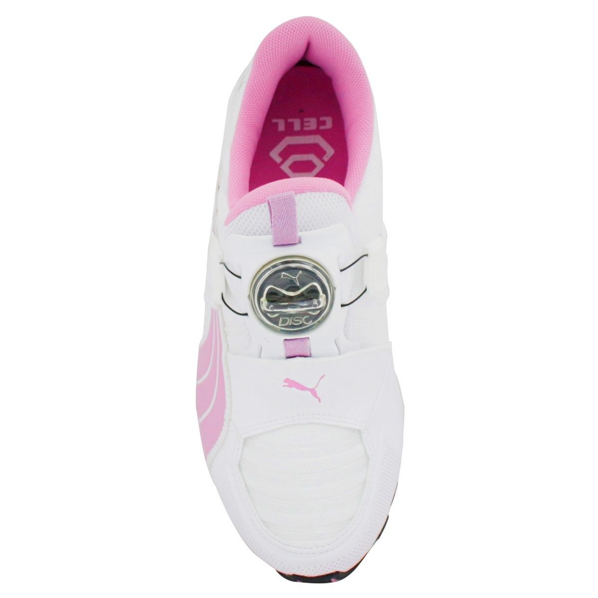 puma disc feminino branco e rosa