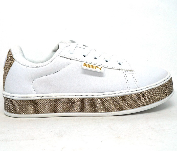 c1e7a3de396 Tênis Puma Fenty By Rihanna Branco Com Glitter Dourado - R  200