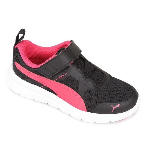 7eb3f2604b8 Tênis Puma Flex Essential V Ps Preto Pink Feminino Infantil - R  109 ...