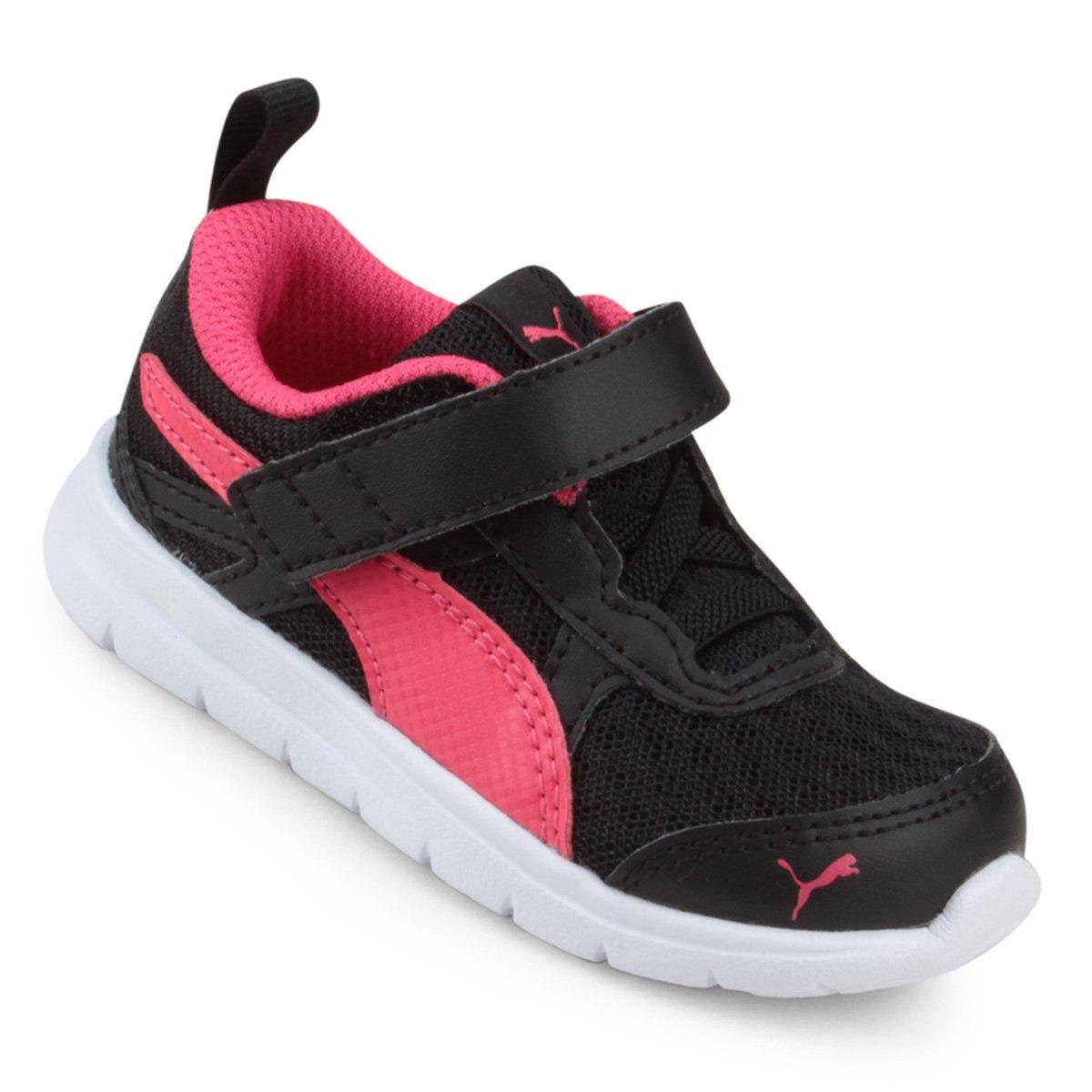 7510e9e5142 tênis puma flex essential v ps preto pink feminino infantil. Carregando  zoom.