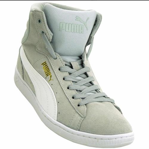 tênis puma vikky mid cinza branco/cinza feminino