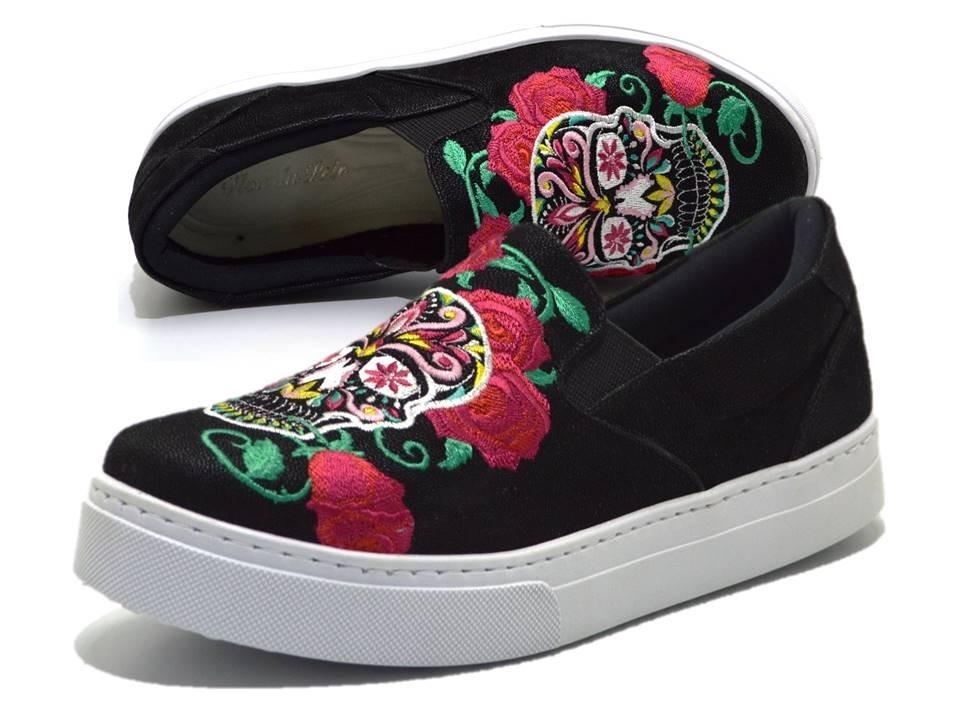0b93e8d2f tênis sapatilha slip on preto com caveira mexicana colorid. Carregando zoom.