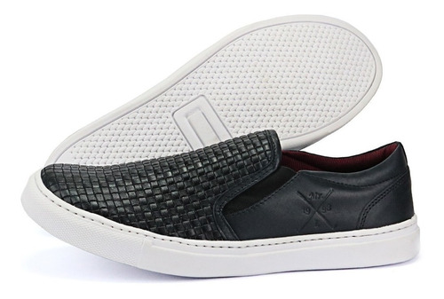 tênis sapatênis casual slip on couro moderno top lançamento