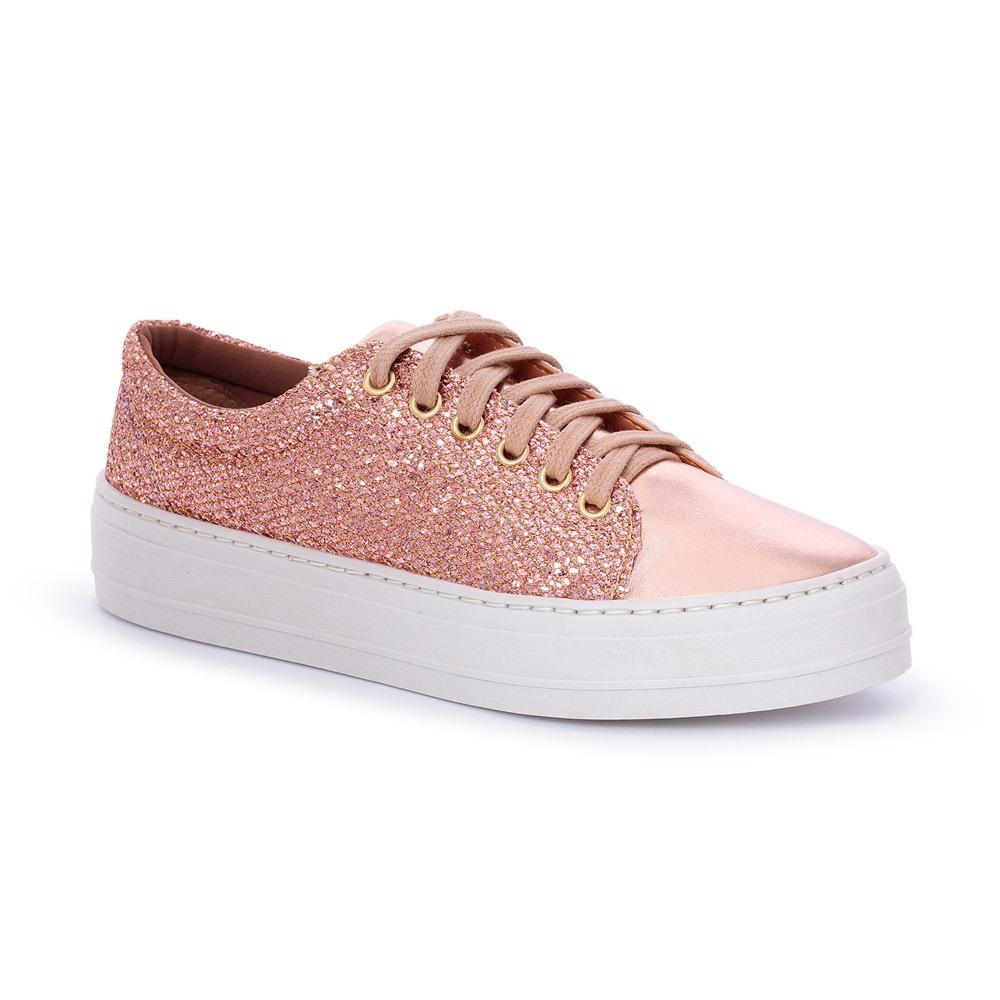 tênis sapatênis feminino tenehi glitter rose com metalizado. Carregando  zoom. 7599b4550170c