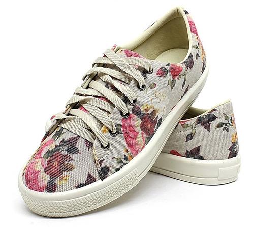 tênis sapatênis iate casual feminino amarrar floral  neutro