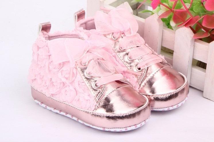 Nis Sapato Sapatinho Beb Menina Floral Rosa Meses