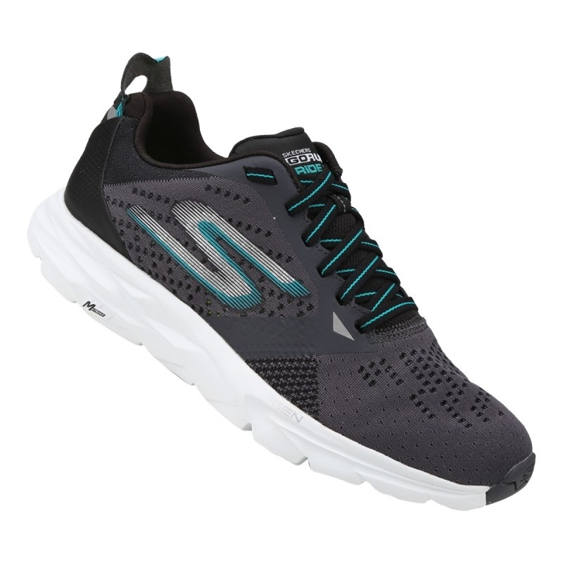 tênis skechers go run ride 6 54117-cctl - grafite e branco. Carregando zoom. f7be42becb3f5