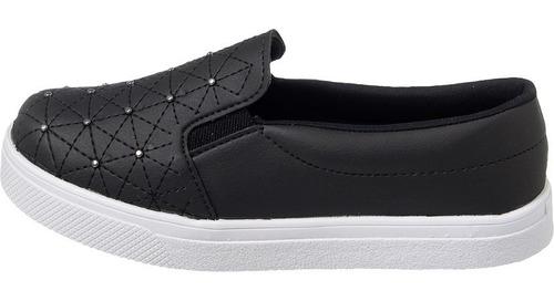 tênis slip on preto costurado