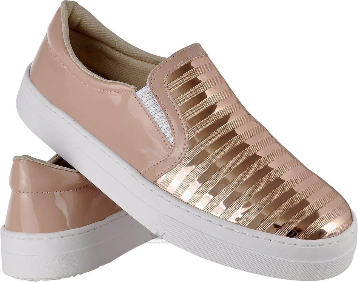 ed3f2f95823 tênis slipper feminino rosê metalizado casual estilo flat. Carregando zoom.