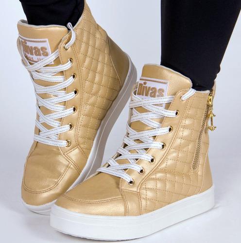 tênis sneaker divas bota treino cor dourado liquidação