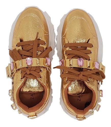 tênis sneaker feminino craquele new ouro marca zatz
