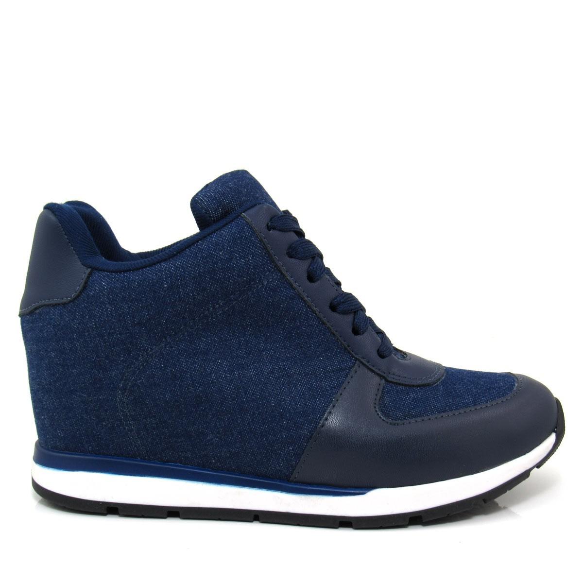 dd27068fbd9 Tênis Sneaker Feminino Vizzano 1226102 Jeans Salto Embutido - R  89 ...